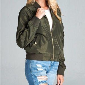 Jackets & Blazers - Dark Olive Bomber Jacket